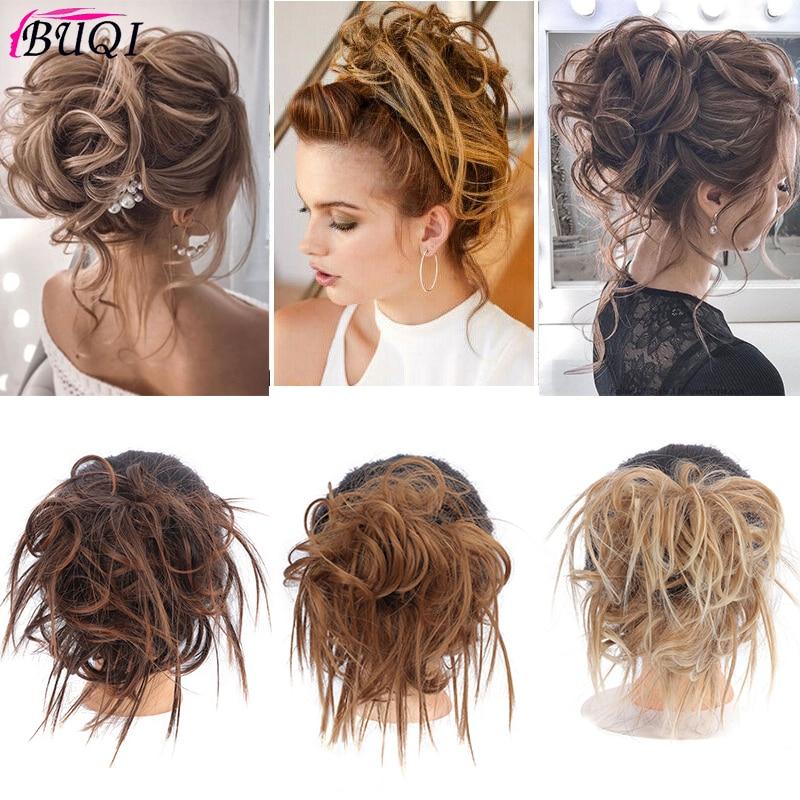 BUQI  Messy Scrunchie Chignon Hair Bun Straight Elastic Band Updo Hairpiece Synthetic Hair Chignon Hair Extension For Women