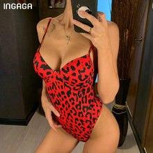 INGAGA Push Up Swimsuit One Piece Swimwear Women 2020 Sexy High Cut Beach Wear L
