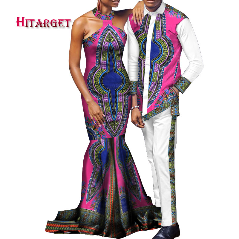 Stock Size African Couple Clothing Woman Dress and Man Suit Cotton Couples Matching Clothing for Lover WYQ140