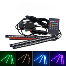 4pcs/set 12V LED Car Interior Floor Decorative Strip Light 12 SMD Remote Music Control Colorful RGB Auto Atmosphere Lamp