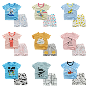pajama sets frutto rosso for boys frb72142 sleepwear kids home suit children clothes Summer Children Clothes Short Sleeve Cartoon Suit Baby Boys Girls Clothing Sets 2020 New Korean Kids Pajama Outwear 1-5 Years