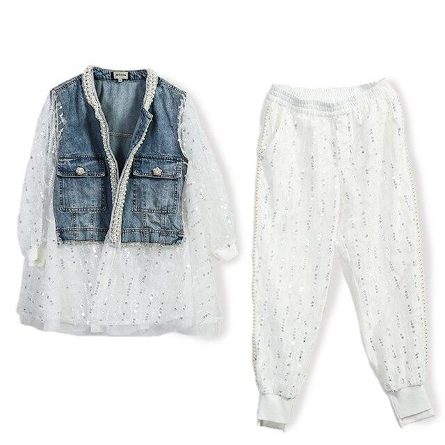 Streetwear Autumn New Women Lace Mesh Stitching Jean Short Coat Jacket Beading Harem Long Pants Two-piece Sets Trend