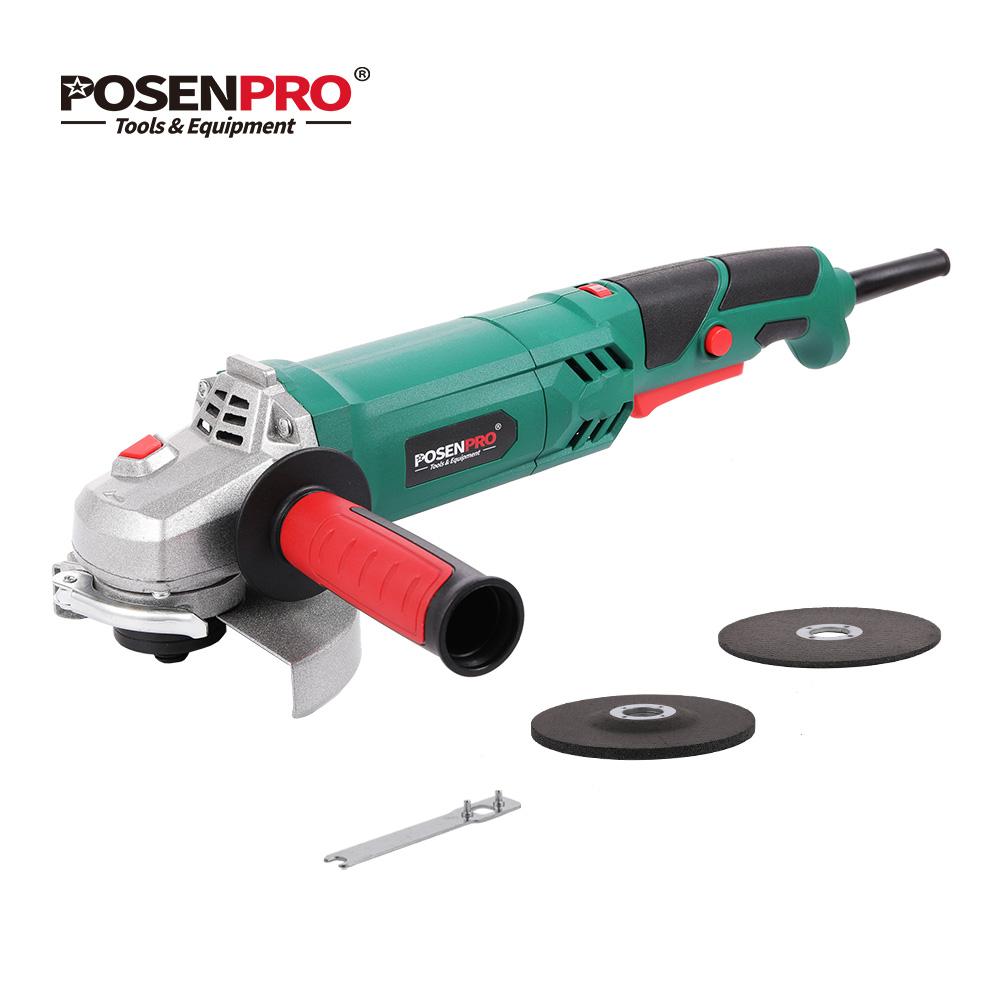 Electric Angle Grinder 125mm 1100W Variable Speed 12000RPM Toolless Guard for Cutting Grinding Metal Stone Work POSENPRO