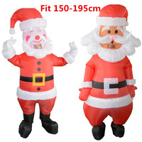 1.5 1.95M Inflatable Santa Snowman Claus Set With Blowe Night Light Figure Outdoor Garden Toys Christmas Party Decor New Year