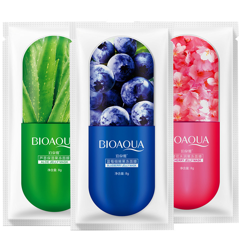 Bioaqua Aloe Vera Plant Blueberry Cherry Blossoms Jelly Face Masks Moisturizing Whitening Anti Aging Skin Care Facial Mask image