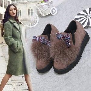 Image 1 - Модные меховые лоферы с закругленным носком для женщин, теплые лоферы из флока с полосками, повседневные разноцветные туфли на плоской подошве без шнуровки