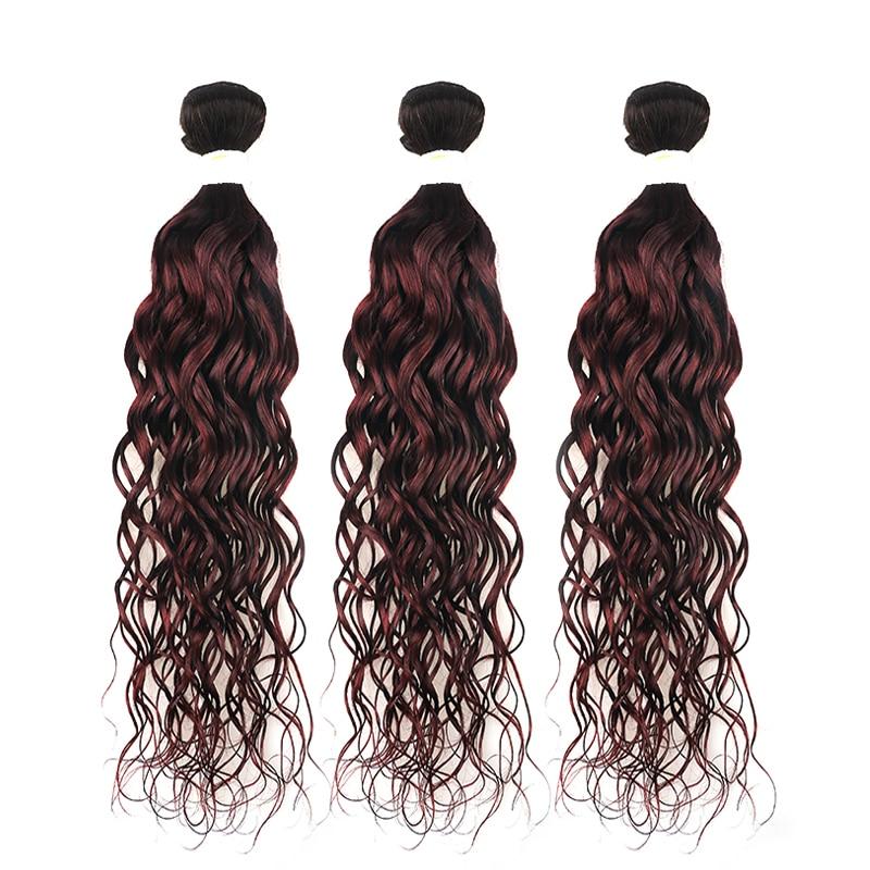 1B/99J Burgundy Brazilian Water Wave Human Hair Bundles 3/4 PCS Two Tone Ombre Color Hair Weaving Non-remy KEMY HAIR