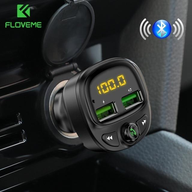 FLOVEME 3.4A شاحن سيارة سريع Fm الارسال بلوتوث المزدوج USB شاحن هاتف السيارة المحمول شحن سريع MP3 TF بطاقة الموسيقى سيارة عدة