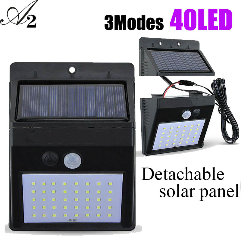 A2 40LED Solar Lamps Sensor Outdoor Solar Power Wall Light Energy Saving Waterproof Ip 65 Garden Separation Moden