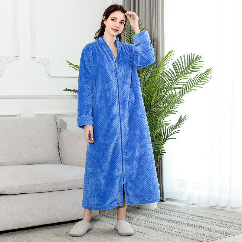 New Zipper  Velvet Bathrobe Autumn&winter Plus Increase Nightgown Men Women Thickening Pajamas Flannel Home Service