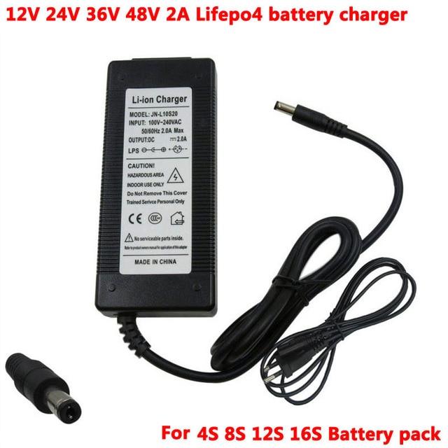 Carregador de bateria elétrico 12v 24v 36v 48v 2a lifepo4 carregador e bicicleta carregador de bateria inteligente com tomada dc2.1