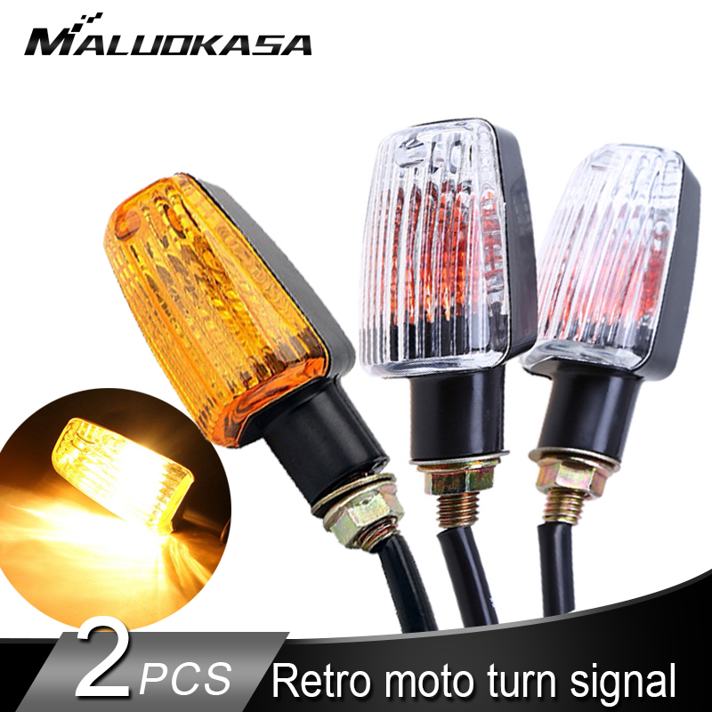 Universal Motorcycle Turn Signals Indicator Retro Stop Signal Amber Blinker Bulb Halogen Lamp Brake Indicator Flasher Light 10mm