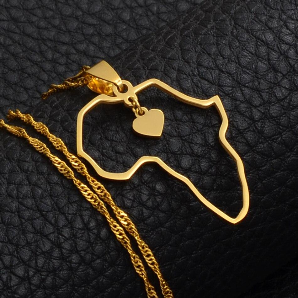 Anniyo(два размера) золотой цвет кулон Карта Африки ожерелья для женщин девочек сердце Африканский карты ювелирные изделия талисманы подарки#010421