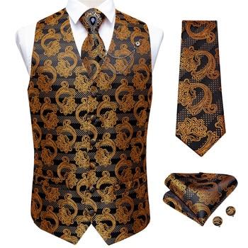 New Teal Green Paisley 100% Silk Formal Dress Vest Men Waistcoat Vest Wedding Party Vest Tie Brooch Pocket Square Set DiBanGu 24