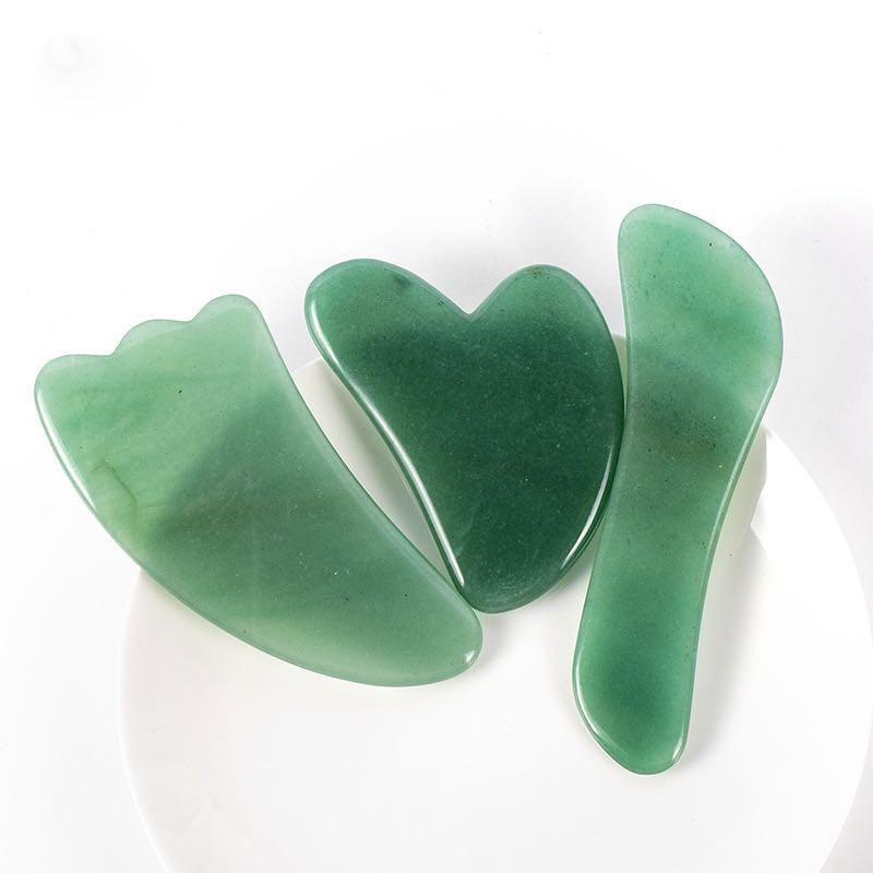 3 IN 1 Jade Gua Sha Stone Tool Kit Natural Green Guasha Massage Board Scraper for Face Beauty Facial Massage Set Health Care