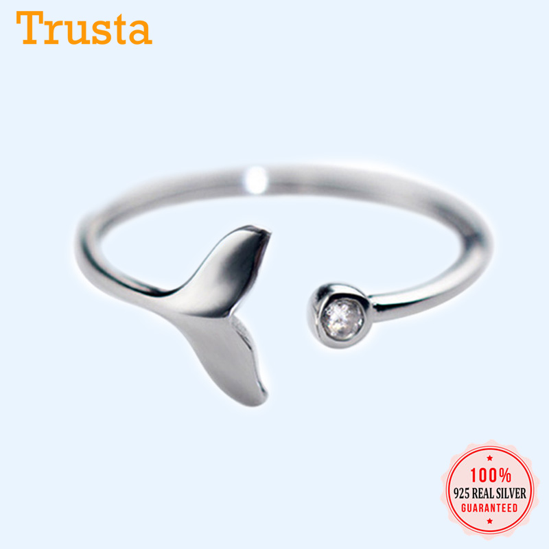 Trusta 2018 New 100% 925 Sterling Silver Fashion Women Mermaid Tail Rings Size 5 6 7 Wonderful Gift For Girls Kids Lady's DS556