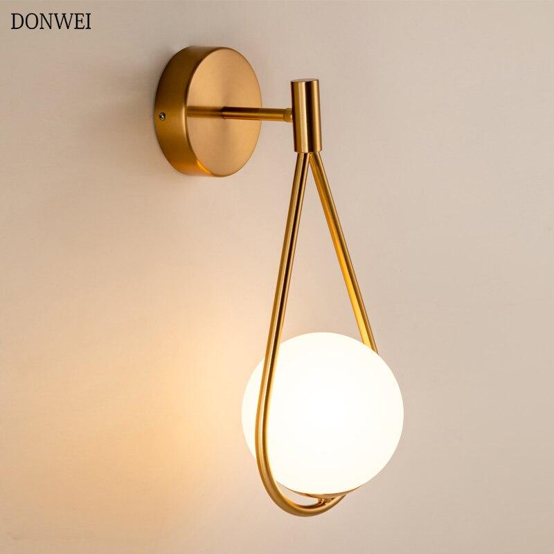 Nordic minimalistyczny LED kinkiet łazienka sypialnia szklane kulki ścienne w stylu Vintage światła artystyczne oświetlenie wewnętrzne dla schody przejściach i korytarzach