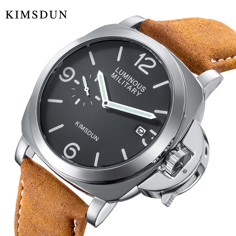 KIMSDUN Fashion Luxury Brand Men Casual Military Sports Quartz Calendar Watch Waterproof Leather Male Large Dial Watches Relogio