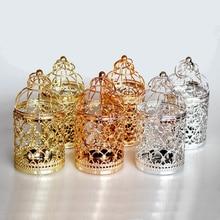 Europe Golden Hollow Metal Pattern Cylinder Candle Holder Wedding Centerpieces Decorative Iron Candlestick Lantern Decor Crafts