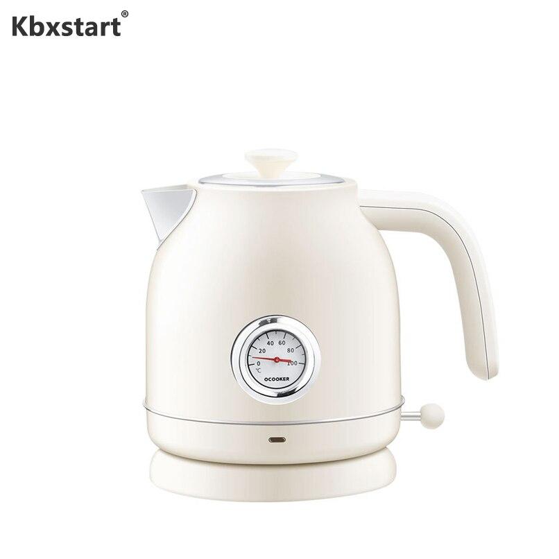 Kbxstart 1800W Hervidor eléctrico Retro Cocina agua hirviendo rápido tetera de acero inoxidable 304 con indicador de temperatura
