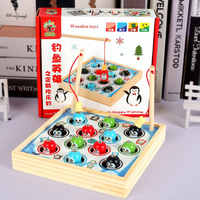Magnetic fishing catch penguin toys children puzzle cognitive wooden new toys 12 Penguin Dolls, Classic Educational wood toys