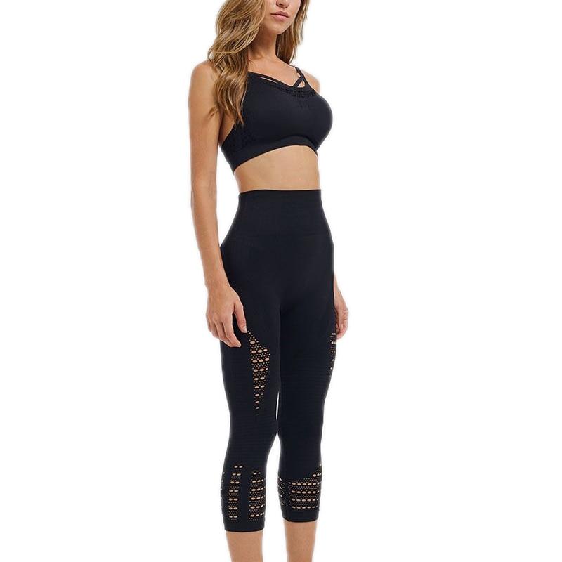seamless workout set women fitness suit strappy sports bra yoga capri pants gym clothes sport wear gym women gym sets