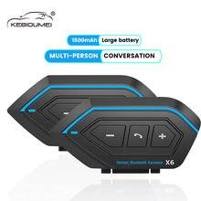 Oreillette Bluetooth X6 pour moto, appareil de communication pour casque, Intercom jusqu'à 2 motocyclistes, kit mains-libres sans fil, résistant à l'eau, portée 1000M, 2 pièces/lot