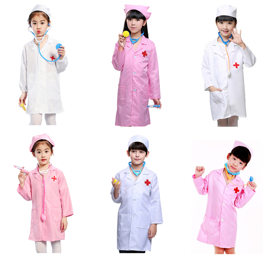 Children Play House Costume Boys Girls Doctor Nurse Uniform Halloween Cosplay Family Games Kids Carnival Costumes 100-160CM