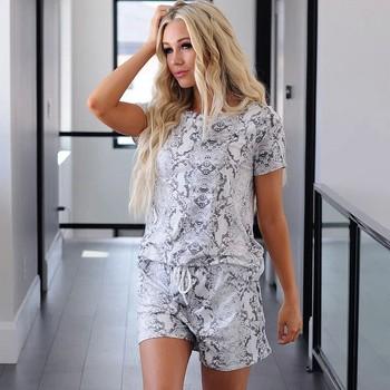 Piżamy damskie piżamy zestawy serpentyn Sport drukuj zestawy odzież rekreacyjna zestaw z krótkim rękawem strona główna topy + spodnie bielizna nocna piżama Femme tanie i dobre opinie COTTON Nightwear Sleepwear okrągły dekolt szorty krótkie summer pijama pyjamas women pijama mujer pijamas women pajamas
