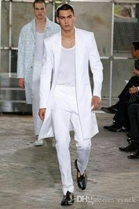 Image 1 - Yaz Uzun Ceket Beyaz Pantolon Damat Smokin Düğün takımları Erkekler için Zirve Yaka Adam Blazers 2 Parça Ceket Pantolon Balo parti