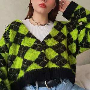 Knitted Cardigans Mohair Sweater Argyle Vintage Winter Kawaii New
