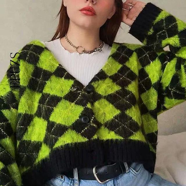 Vintage argyle knitted cardigans women sweaters kawaii mohair sweater winter korean sweater clothes 2020 new 1