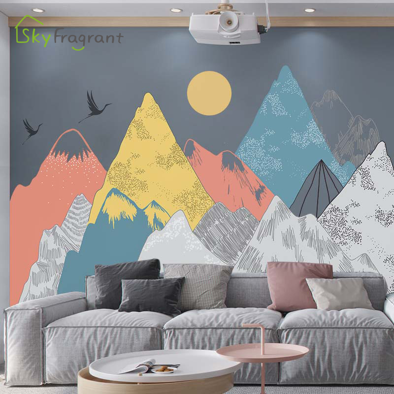 Creative fairy mountain wall sticker home self-adhesive stickers sofa TV background wall decor room decoration house decoration