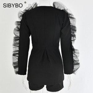 Image 5 - SIBYBO Deep V Neck Mesh Spliced Sexy Women Blazer and Shorts Set Long Sleeve Spring Two Piece Set Women Black Casual Women Set