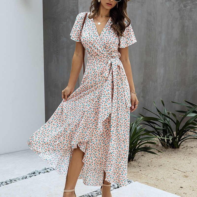 SWQZVT 2020 Mode Kurzarm Floral Print Frauen Kleid Neue Damen Strand Sommer Kleid Casual Frauen Lange Maxi Kleider Vestidos