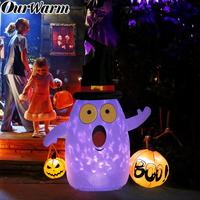 OurWarm Halloween Inflatable Pumpkin Decoration Inflatable Ghost Color Changing Light Show Halloween Outdoor Decoration