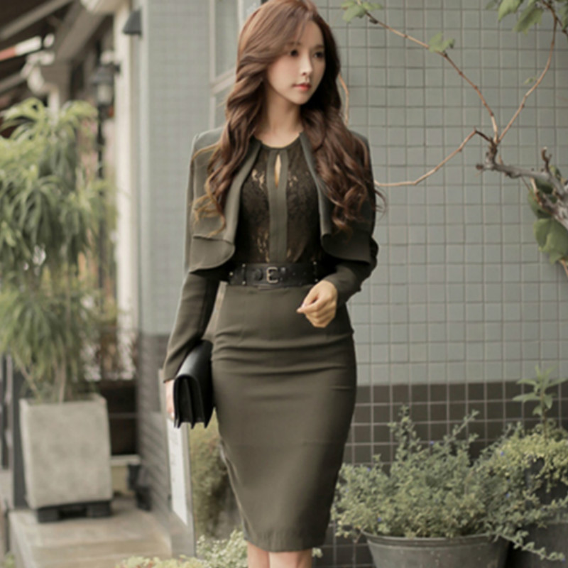 2020 Spring Korea OL Official Lace Patchwork Coat Two Piece Suit Dress Belt Army Green Pencil Bodycon Work Sets