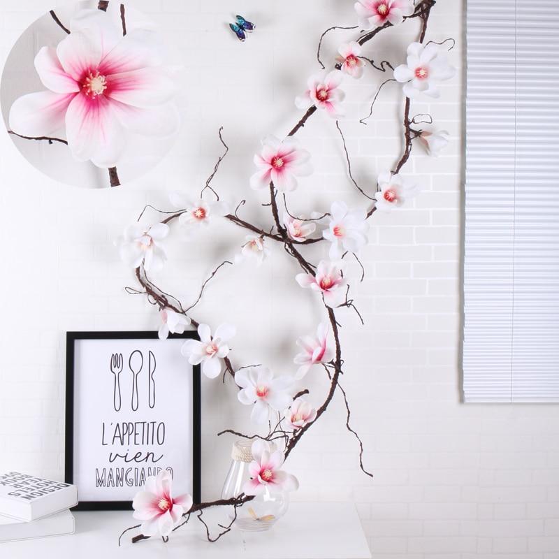 185 см искусственная Магнолия Шелковый Искусственный Цветок Высококачественный цветок орхидеи, настенные ветки дерева, цветы из ротанга Vine, ...