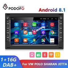Podofo 2 din android 8.1 rádio do carro gps multimídia jogador para vw volkswagen golf polo transporter passat b5 bora mk5 sharan jetta