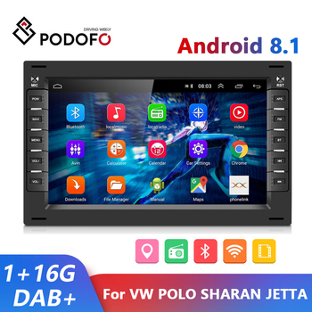 Podofo 2 din Android 8.1 Car Radio GPS Multimedia Player For VW Volkswagen GOLF POLO TRANSPORTER Passat b5 BORA MK5 SHARAN JETTA image