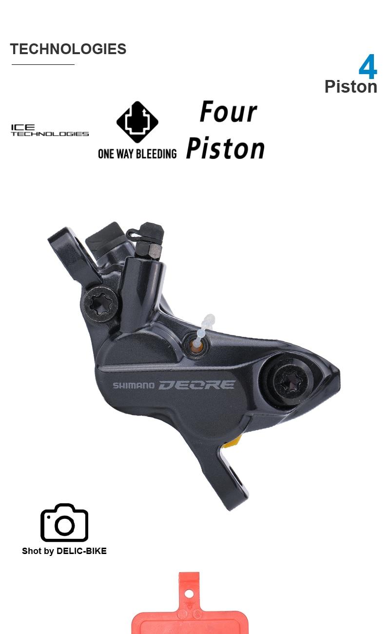 SHIMANO DEORE M6100 M6120 Hydraulic Disc Brake - 4-Piston with M6100 Brake Lever and M6120 Brake Caliper unassembled