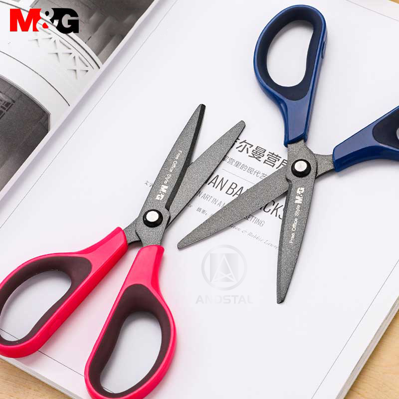 Andstal 175mm Black Tech Non-stick Scissors M&G Teflon Coatd Blades Scissor For School Office Supplies Sissors Craft Stationery