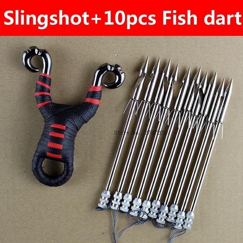Outdoor Powerful Multi-Function Fishing Shooting Fish Slingshot Catapult Hunting Sling Shot Arrow Kit Slingshot Fish Darts Set