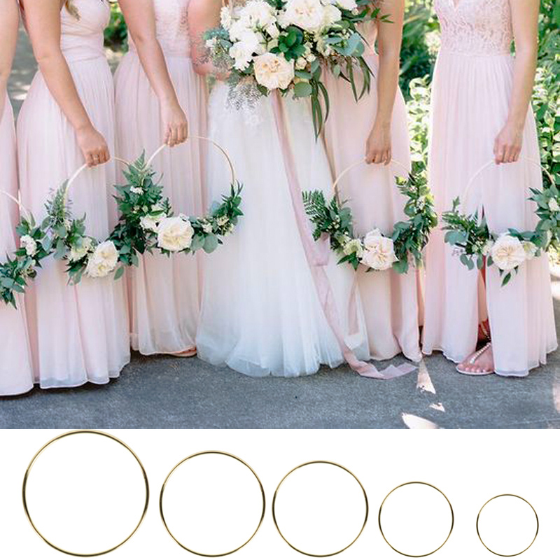 10-40cm Wedding Decoration Iron Metal Wreath Baby Shower Birthday Party Backdrop Wreath Bridal Shower DIY Round Hoop