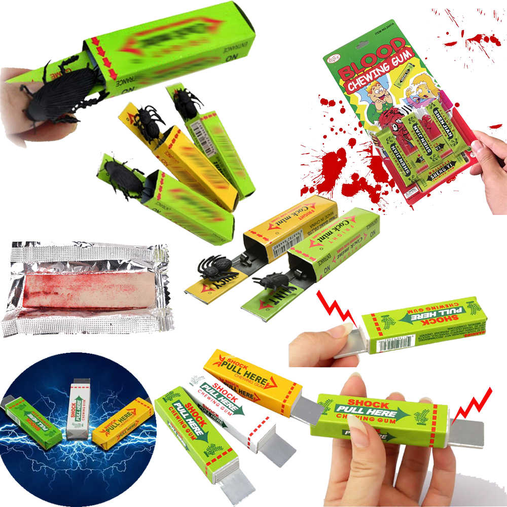 Trick Joke Toy Electric funny Pull Head Novelty Gag Playing April Fool's Day Toys Prank Chewing Gum Tricky Magic Props Safety