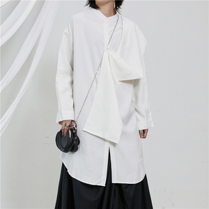 [EAM] Women White Split Big Size Long Blouse New Stand Collar Long Sleeve Loose Fit Shirt Fashion Tide Spring Autumn 2020 1T229