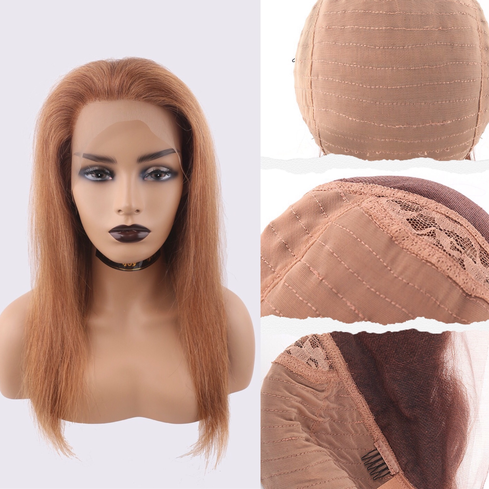 Human Hair Wigs Straight 13×4 Lace Front 16''-26'' #30 Light Brown Non-Remy Brazilian Hair IJOY