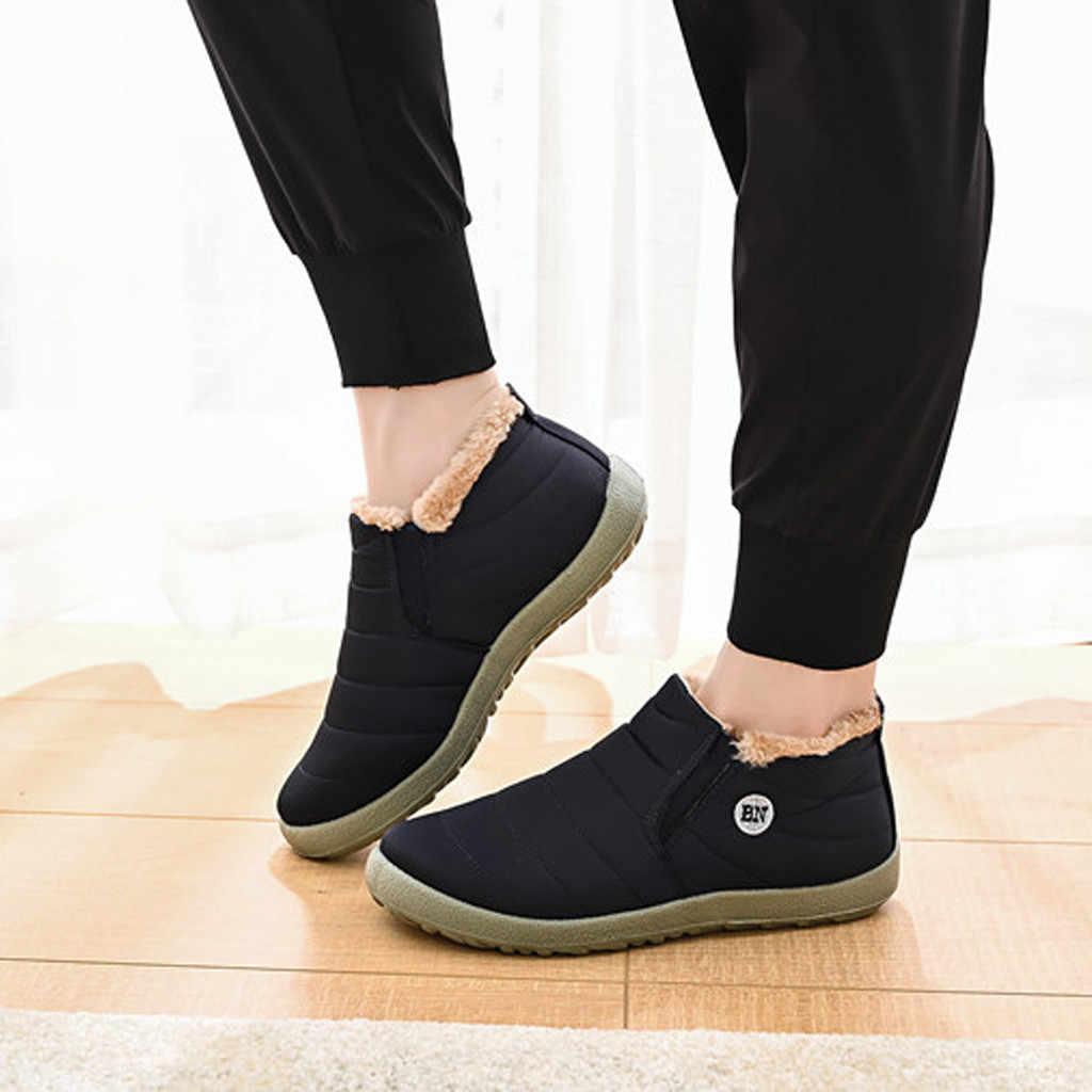 אופנה גברים בתוספת קטיפה נעלי קרסול לשמור חם חיצוני ספורט נעלי אישה קטיפה מדרסים עמיד למים טיולים חמים שלג מגפיים
