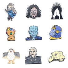 V127 The Film Thanos and Game of Thrones Metal Enamel Pins and Brooches Lapel Pin Backpack Bags Badge Collection Gifts v280 game mass effect metal enamel pins and brooches fashion lapel pin backpack bags badge collection
