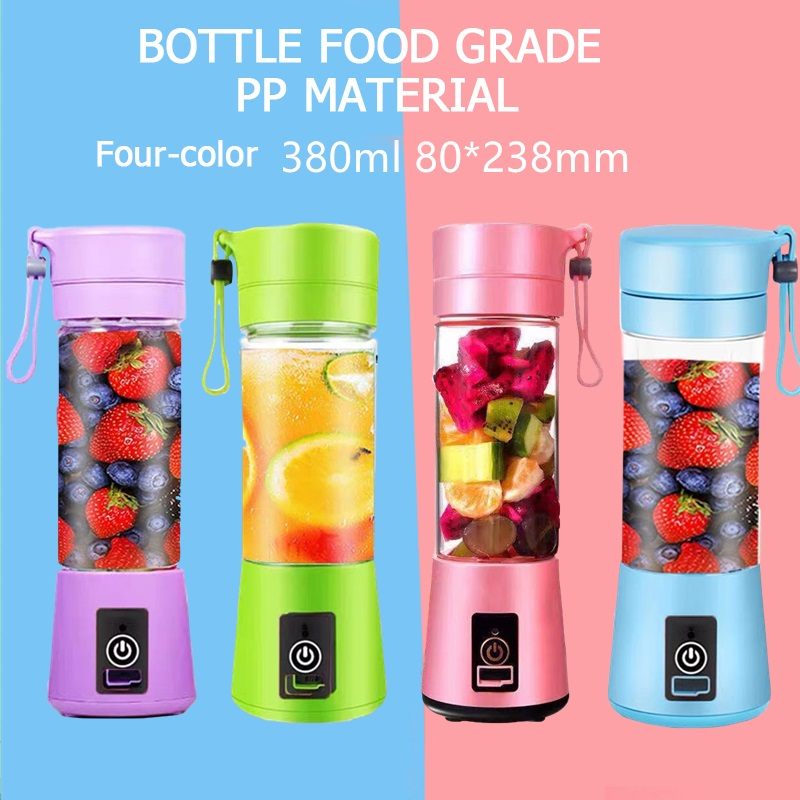 6 Blade Portable Blender 380ML Kitchen MINIi Juicer Electric Bottle USB Charging  Blender Bottle Mixer Juice Food Smoothie Maker